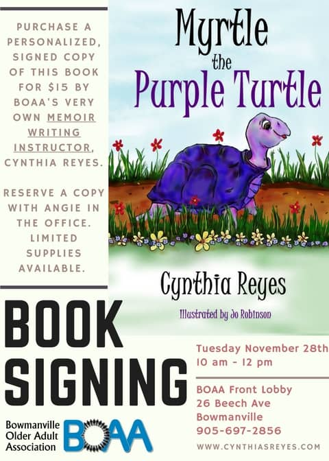 Boaa book signing with cynthia reyes myrtle the purple for Book signing poster template