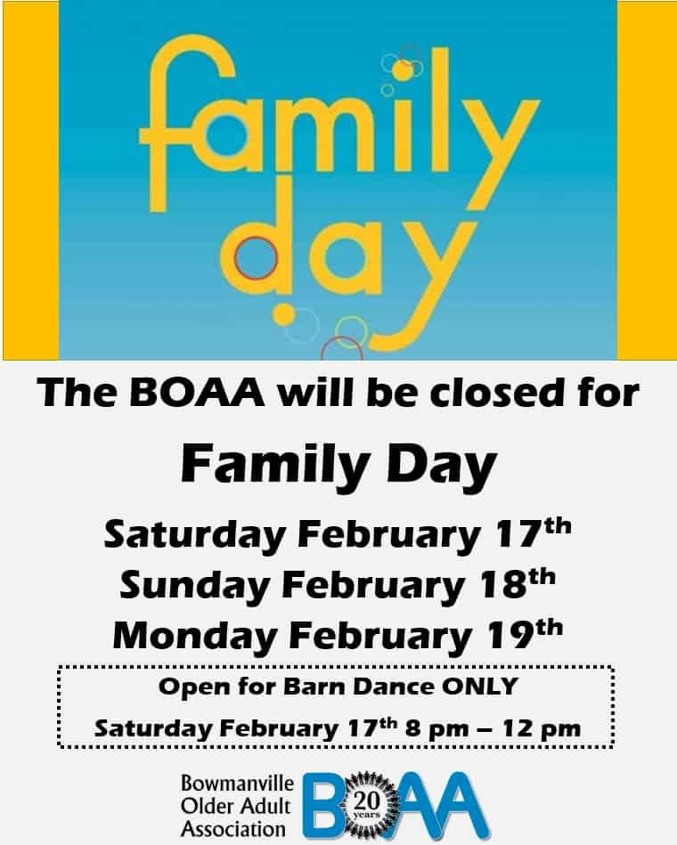 BOAA CLOSED for Family Day Weekend