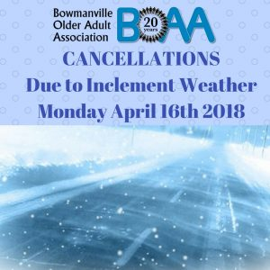 BOAA CANCELLATIONS Due to Inclement Weather – Monday April 16th