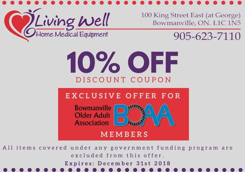 Coupons from Living Well Home Medical Equipment Bowmanville – AVAILABLE NOW!