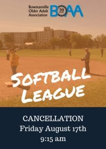 Softball CANCELLATION – Friday August 17th
