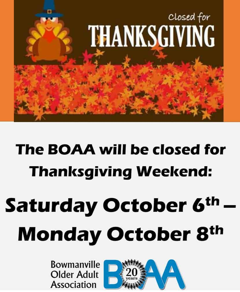 BOAA CLOSED for Thanksgiving Weekend