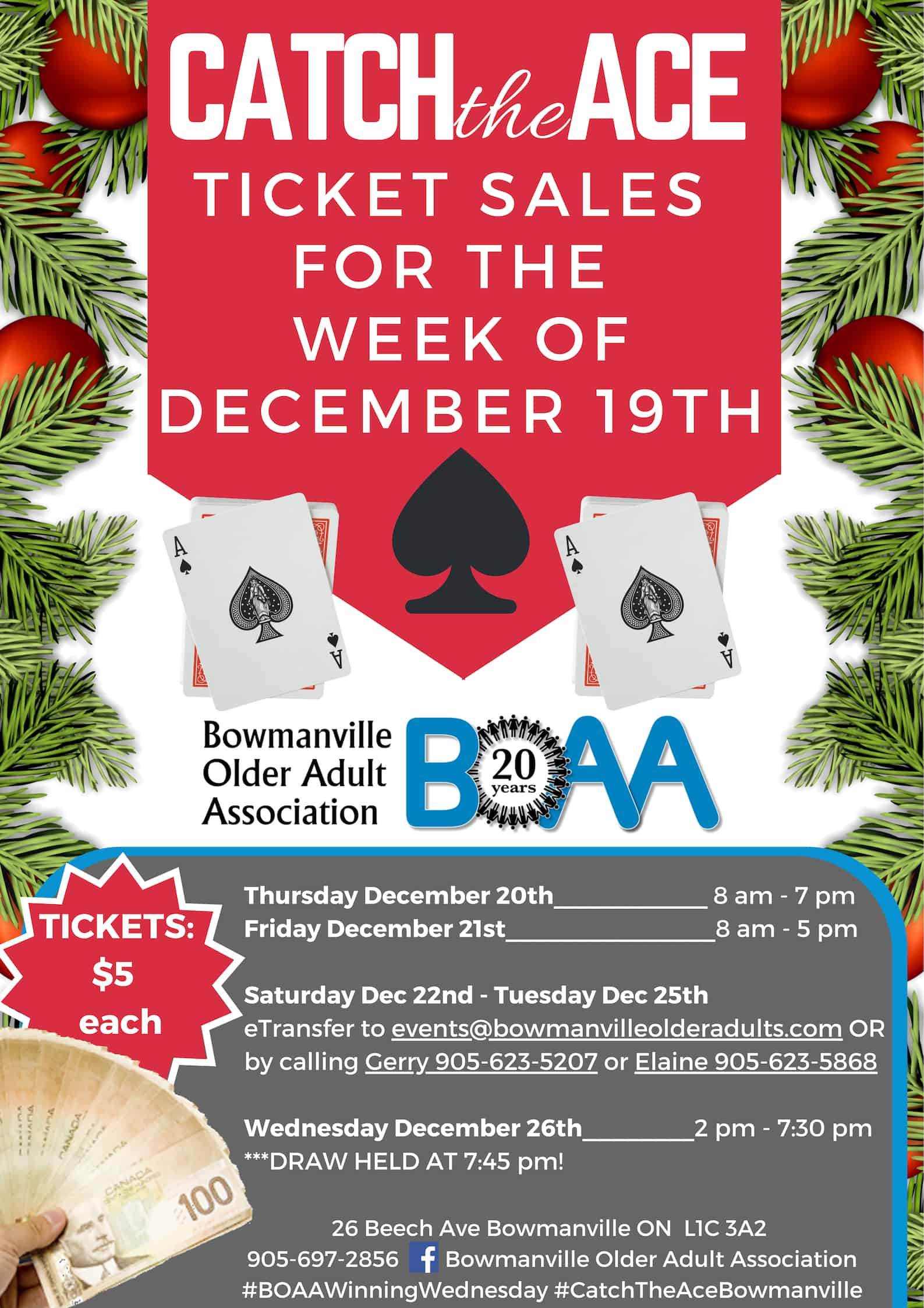 BOAA's Catch the Ace ♠️ Draw is UP OVER $31,540.50 for next week's Boxing Day DRAW!