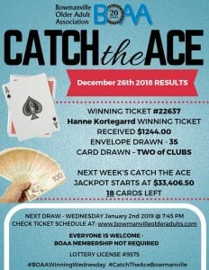 BOAA's Catch the Ace ♠️ Draw is UP OVER $33,406.50 for next week's January 2nd 2019 DRAW!