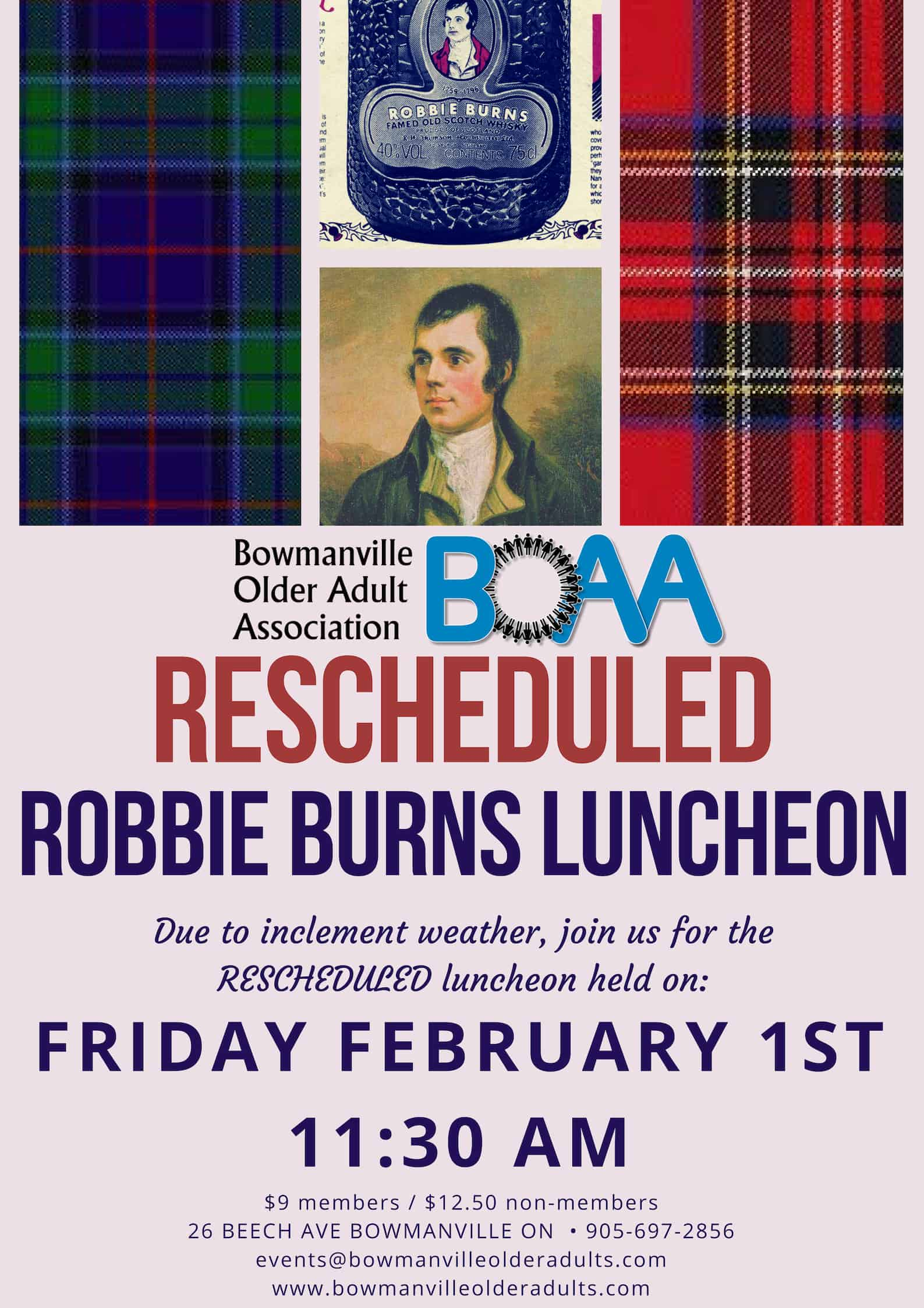BOAA Robbie Burns Event RESCHEUDLED to Friday Feb 1st