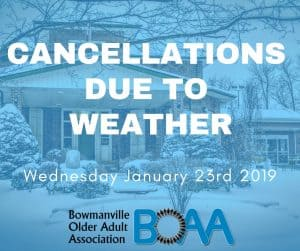 BOAA Program Cancellations Due to Weather – Wednesday January 23rd