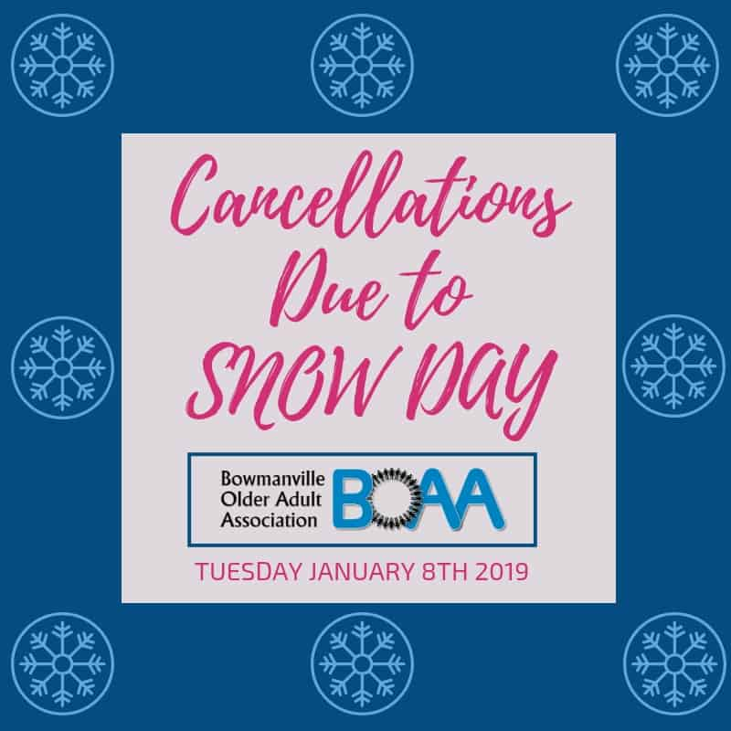 BOAA Program Cancellations Due to Weather – Tuesday January 8th