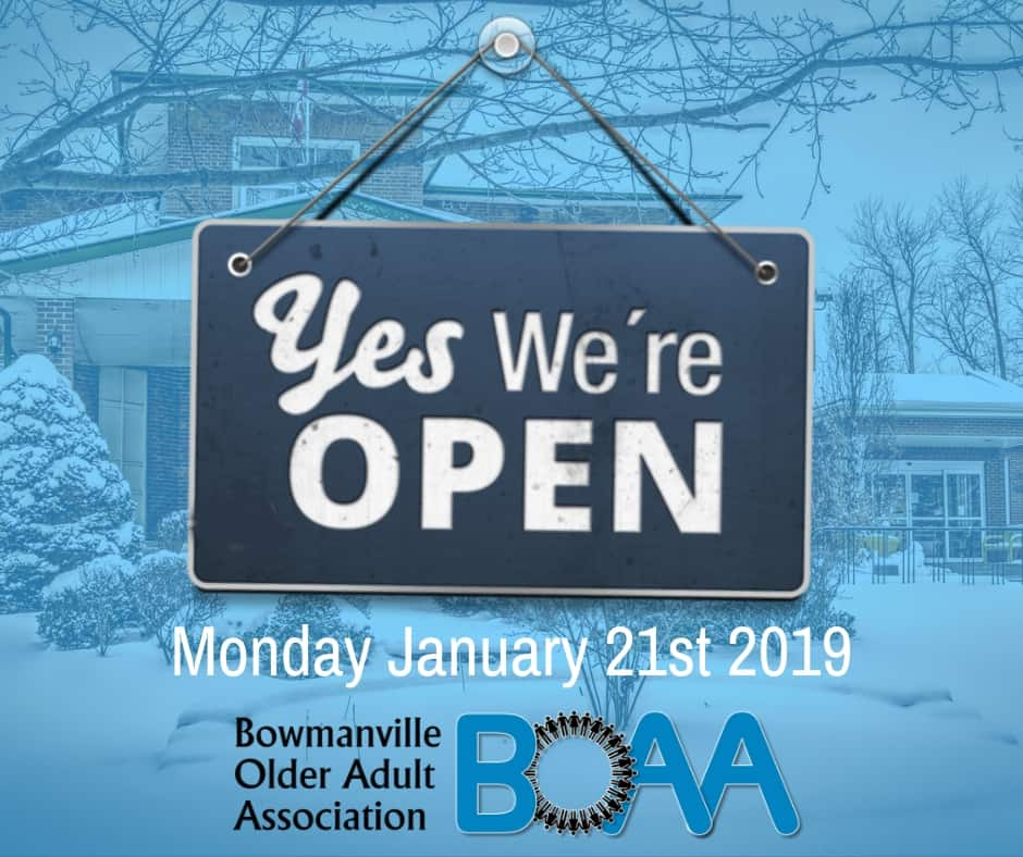 BOAA will be OPEN tomorrow, Monday January 21st 2019!