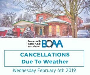 BOAA Cancellations Rue to Inclement Weather – Wednesday February 6th 2019