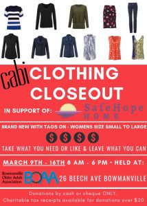 BOAA Clothing Closeout in support of SAFE HOPE HOME