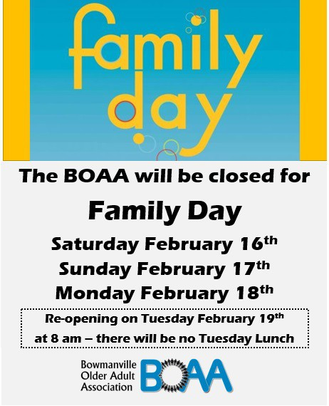 BOAA Family Day Closure