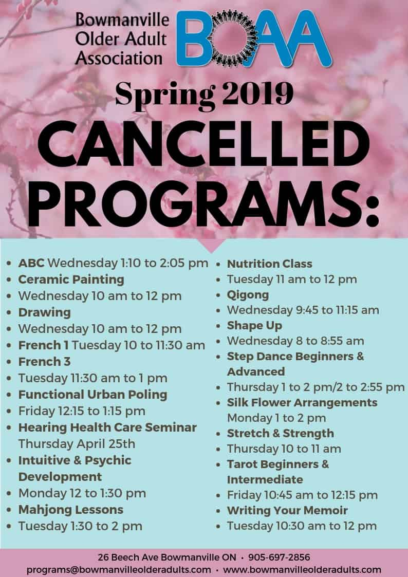 BOAA 2019 Spring Cancelled Courses