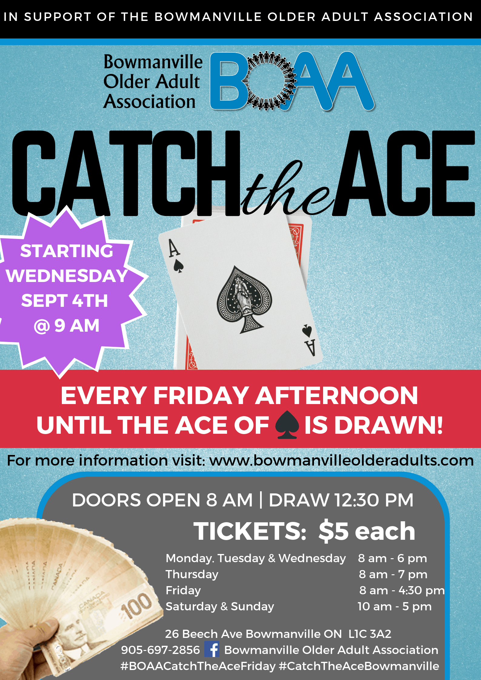 BOAA'S CATCH THE ACE DRAW IS BACK – starting Wednesday September 4th