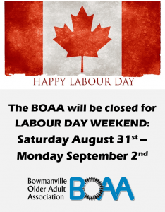 BOAA CLOSED – Labour Day Weekend