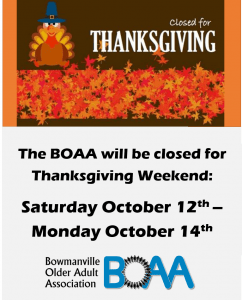 BOAA Thanksgiving Closure