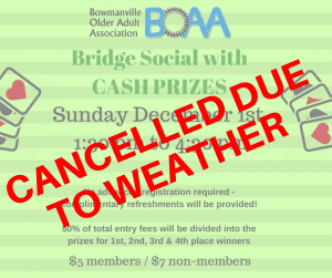 EVENTS CANCELLED TODAY – Sunday December 1st 2019