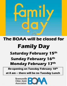 BOAA CLOSED – Family Day Weekend
