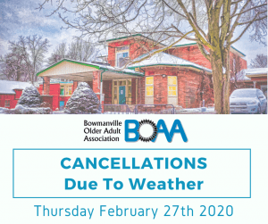 BOAA Inclement Weather Cancellations – Thursday February 27th