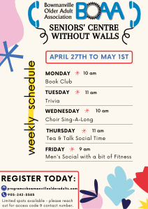 BOAA Seniors' Centre Without Walls – NEW PROGRAMMING April 2020