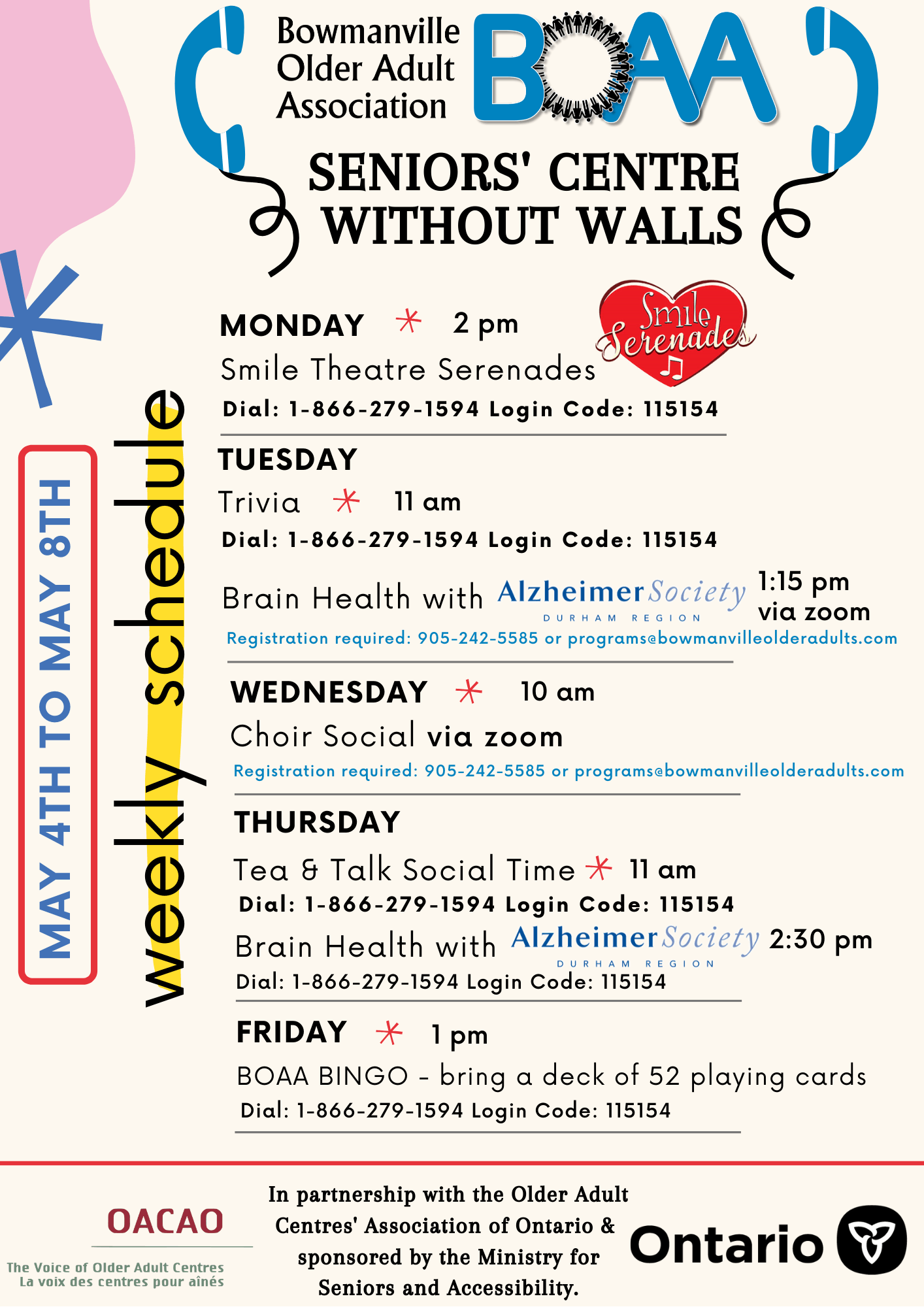 BOAA Seniors' Centre Without Walls – May 4th to May 8th Programming