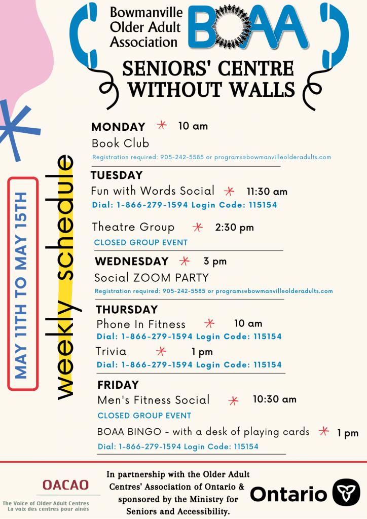 BOAA Seniors' Centre Without Walls – May 11th to May 15th Programming