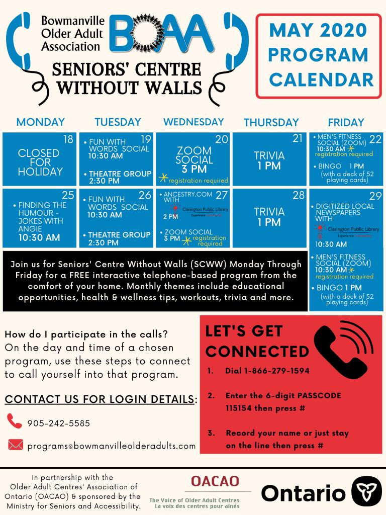 BOAA Seniors' Centre Without Walls – May 19th to May 31st