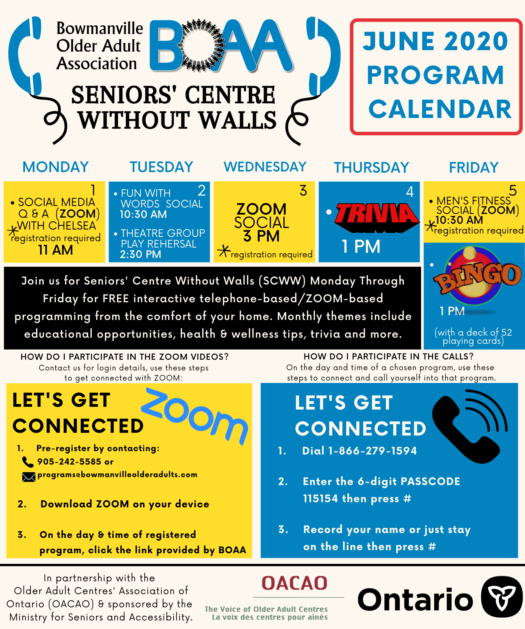 BOAA Seniors' Centre Without Walls – June 1st to June 5th