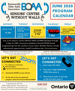 BOAA Seniors' Centre Without Walls – June 8th to June 12th