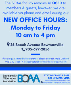 NEW BOAA Office Hours – Monday to Friday 10 am to 4 pm