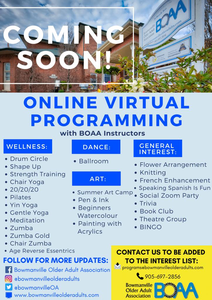 BOAA NEW Online Virtual Programming – Phone & Zoom!