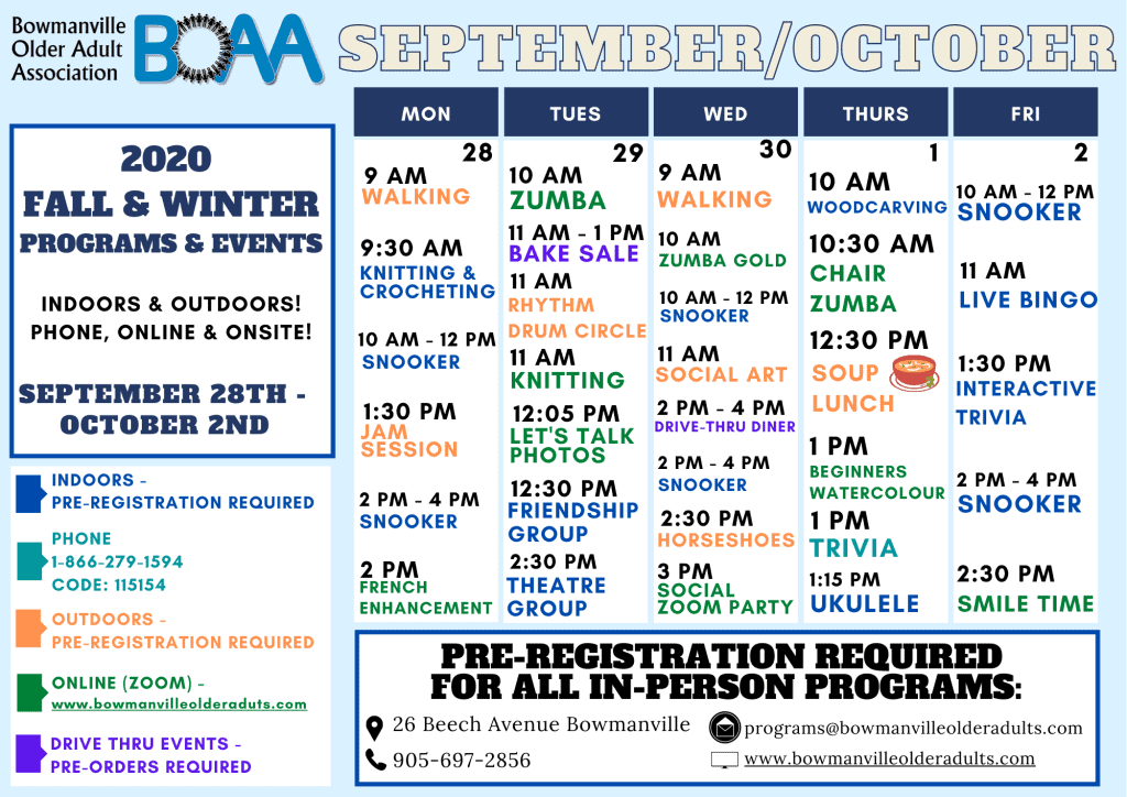 BOAA's NEW 2020 Fall & Winter Programming – WEEK 3!
