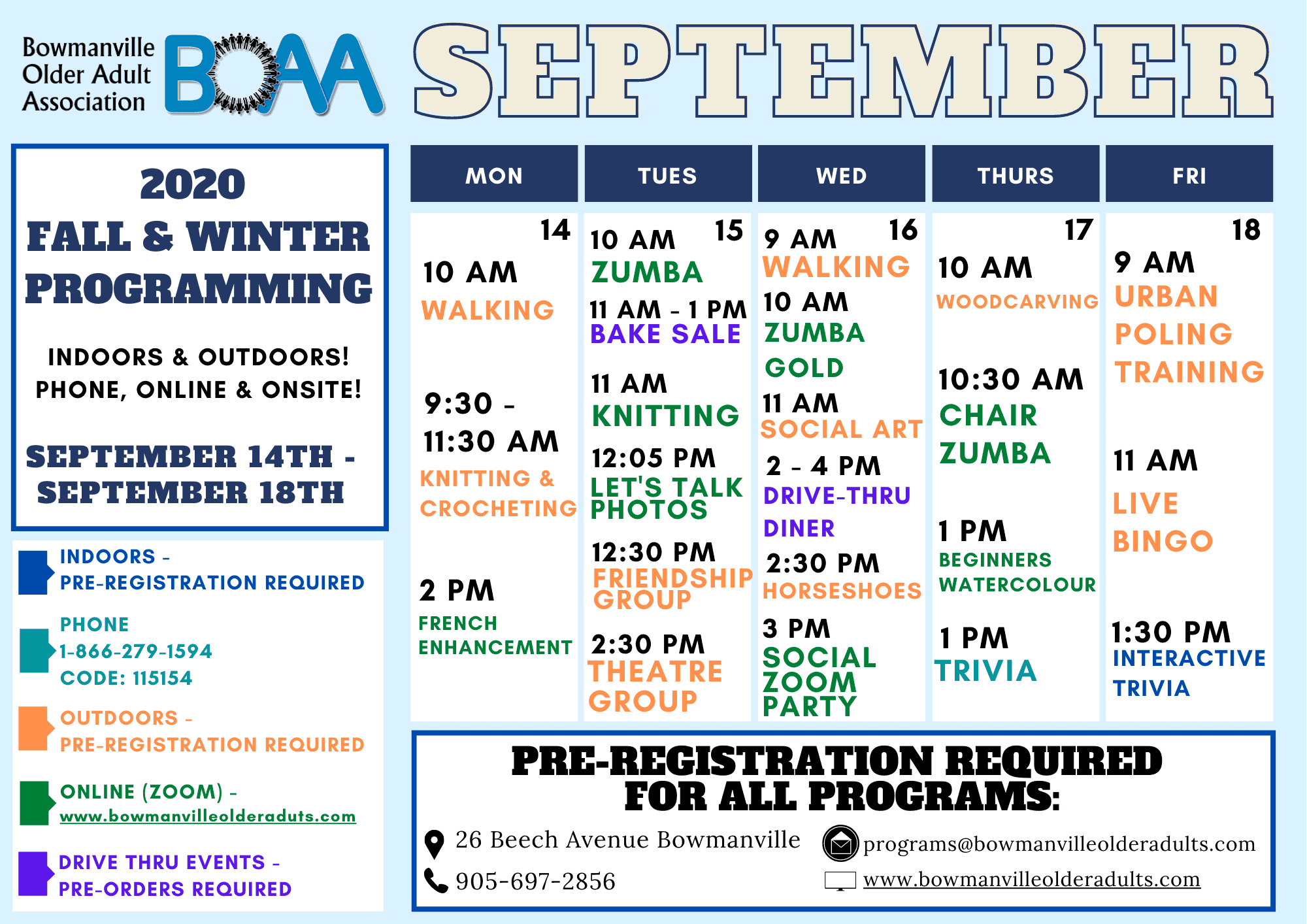 BOAA's NEW 2020 Fall & Winter Programming!