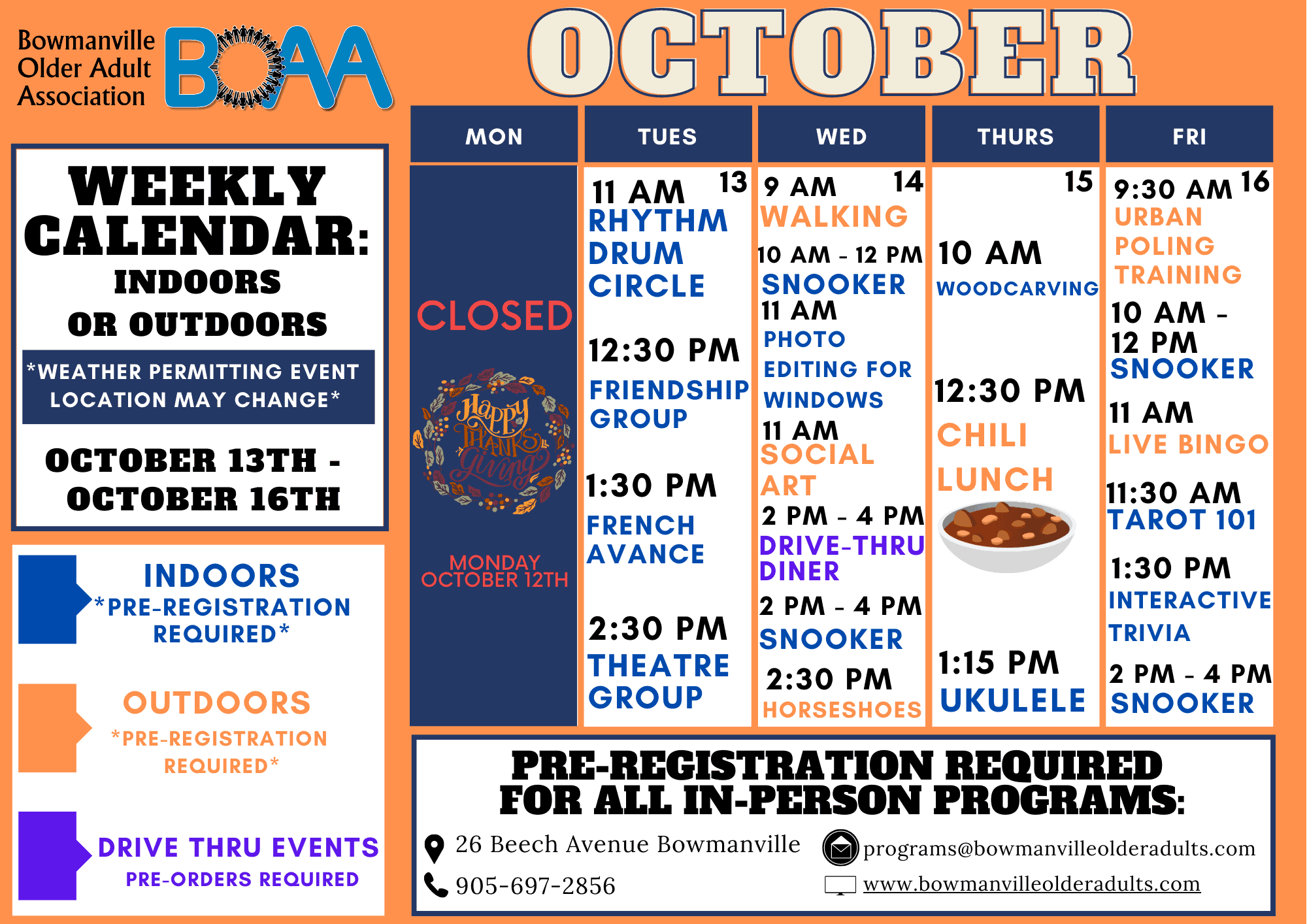BOAA's NEW 2020 Fall & Winter Programming – WEEK 5!