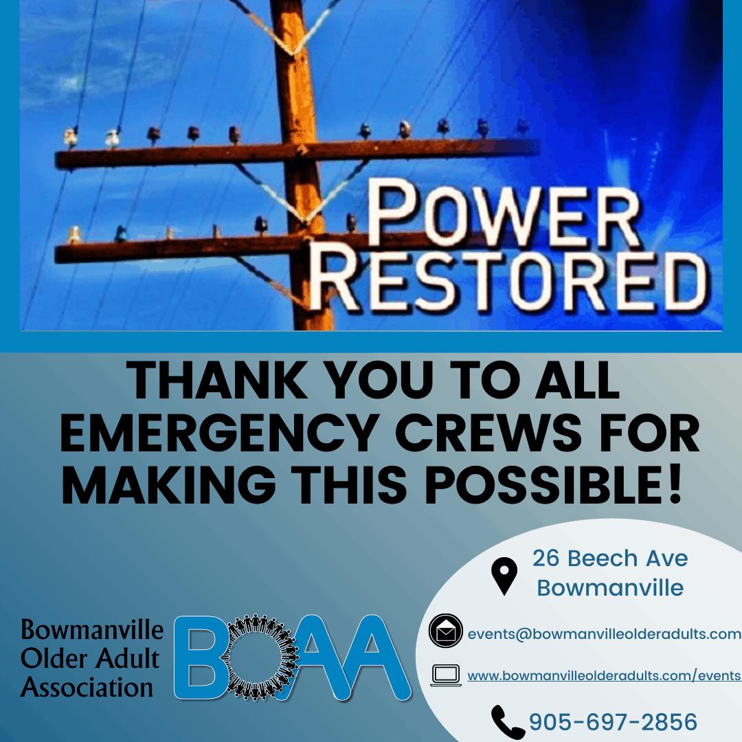 BOAA POWER RESTORED – Wednesday November 25th 11 am