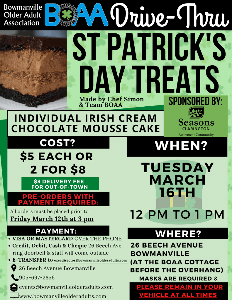 St Patrick's Day Drive-Thru TREATS – ORDER NOW!🍀