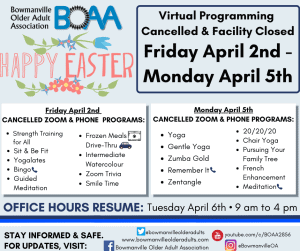 EASTER Closure & Program Cancellations🐰 April 2nd – 5th