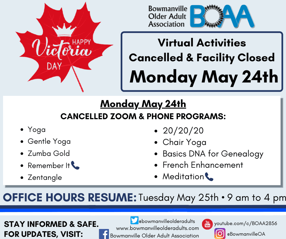 BOAA Activities CANCELLED for Victoria Day – Monday May 24th