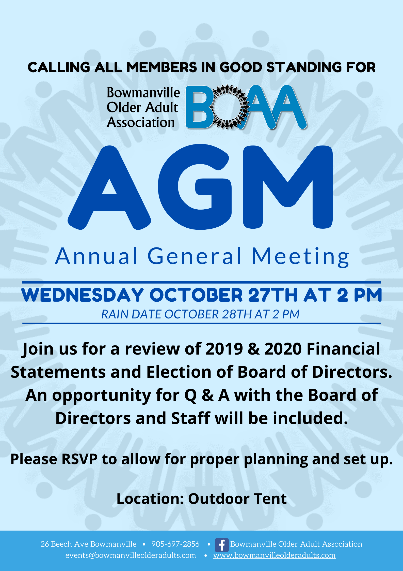 Read more about the article AGM Wednesday October 27th at 2 pm