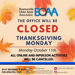 Read more about the article BOAA Activities CANCELLED for Thanksgiving – Monday October 11th